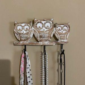Wooden Owl Wall Hooks
